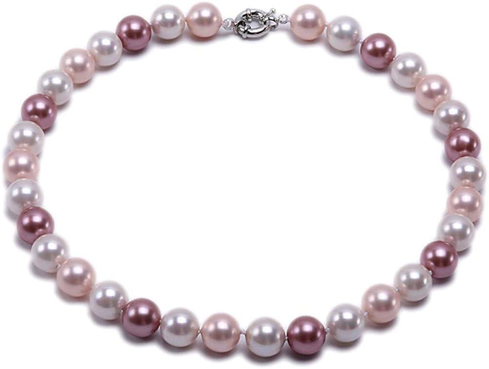 JYXJEWELRY Women Shell Pearl Necklace 16mm AAA Round Single Strand Seashell Pearl Jewelry 18