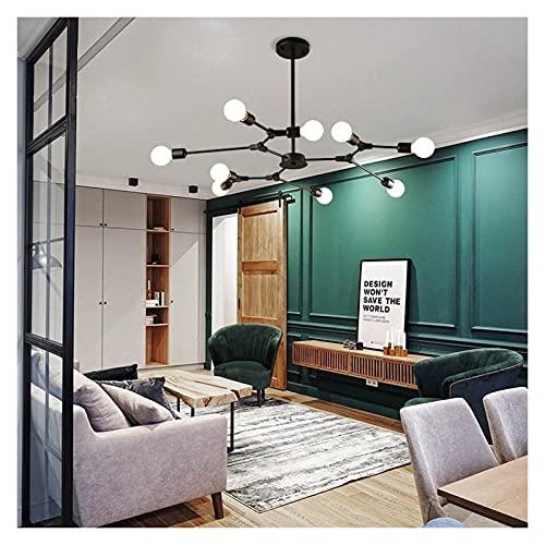 Accesorio de iluminación Luz colgante de techo de metal negro con soporte de lámpara E26 / E27, lámpara de colgante de ángulo de iluminación ajustable araña, para dormitorio de restaurante Iluminación