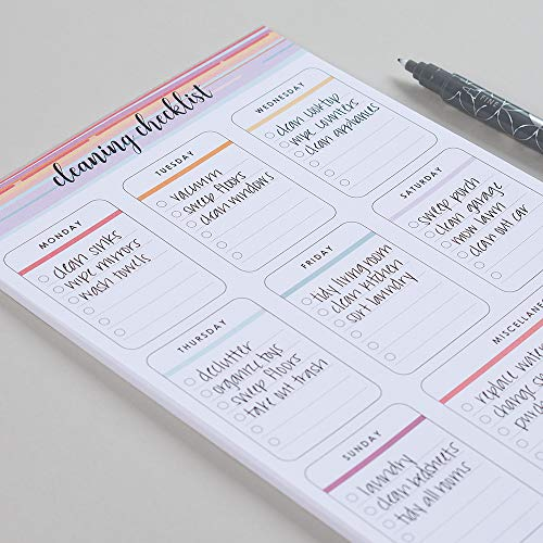 Erin Condren Designer Notepad - Cleaning Checklist Notepad 25 Pages of Daily, Weekly & Open Planning for Easy Customization to Fit Any Schedule Or Organizational Style