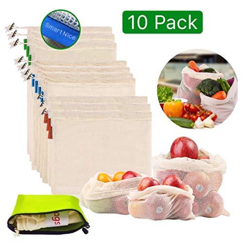 Sinoeem 10pcs Bolsas de Compras Reutilizables de Futas y Verduras,Lavable Hechas de Algodón Orgánico, Bolsas de Malla Beige Transpirable Ecológicas (3×L,4×M,3×S)