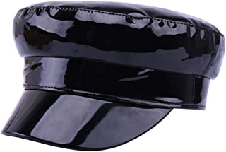 ACVIP Women's Patent Leather Solid Military Style Newsboy Cap