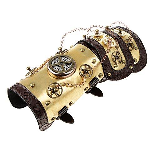 F Fityle Brazalete De Cuero Steampunk Brazalete con Traje De época LED Light Prop
