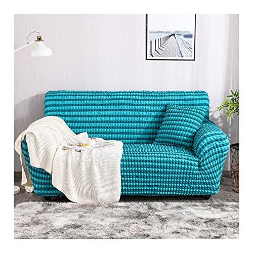 Daesar Fundas para Sofás Elasticas,Funda Sofa Cama 2 Plazas Ajustable,Textura Color Sólido Funda Sofa Protectora Azul Verde,2 Plazas(145-185CM)