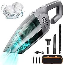 JUNCAI Portable Cordless Vacuum Cleaner,Handheld Vacuum Cleaner High Power 120W/8000Pa,Wet/Dry Hand Vacuum, Mini Vacuum Cleaner,Quick Cleaning for House,Pet Hair,Car & Office (Grey)
