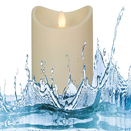 Flamelike Candles Waterproof Flameless Candle (3.5 x 5 Inch) LED Flickering Indoor/Outdoor Fake Decorative Candle with Timer Function - Non-Wax Odorless, Dripless Pillar Candles - Battery Operated