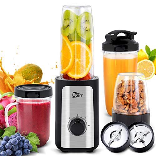 Uten Frullatore Smoothie, 5-in-1 Mini Blender Juicer, Frullatore per Frutta e Verdura, Frullatore Portatile con 2 Lame in Acciaio Inox e Bottiglie in Tritan per Sport, Viaggi, Senza BPA