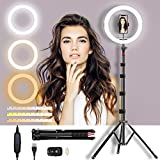 Selfie Ring Light with Adjustable Tripod Stand & Phone Holder 11' Dimmable LED Camera Ring Light for Live Stream/Makeup/Video, with Remote