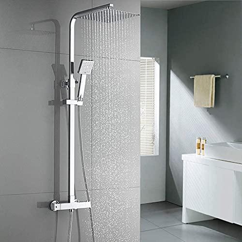 Auralum Duschsystem Ares X101, Duschset mit Thermostat, Anti-Verbrühungs Duscharmatur, (Verstellbar Duschstange, Duscharmatur, 10 Zoll Regendusche, Duschkopf mit Schlauch ) Chrom