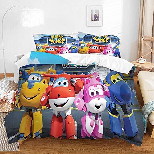 Juego de ropa de cama con patrón 3D, impresión digital de dibujos animados, juego de funda nórdica de anime, funda de almohada, decoración de dormitorio para adultos y niños-F-041_228*228cm(3pcs)