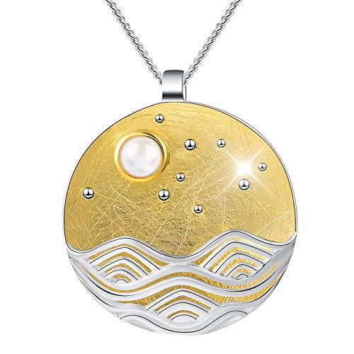 Lotus Fun S925 Sterling Silber Damen Halskette Anhänger Mondschein auf dem Meer Anhänger mit Halskette Kettenlänge 43cm.Handgemachte Einzigartige Schmuck. (Gold)