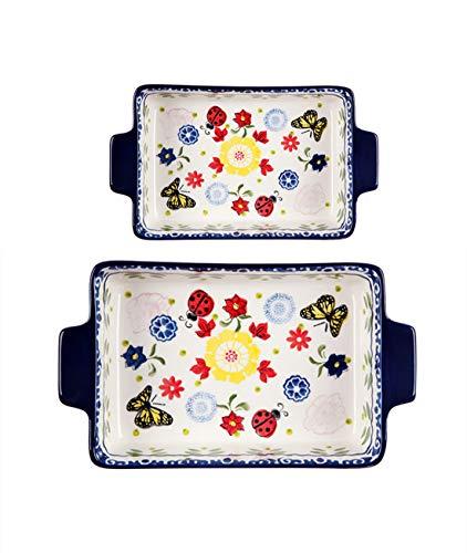 OISII Backformenset 2-teilig,Keramik Backblech mit Doppelgriff Keramikgeschirr Hochtemperaturofen Käse Risotto Reisschale Haushaltsplatte (Size 2)