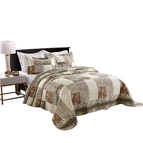 MarCielo 3 Piece Quilted Bedspread Leopard Print Quilt Quilt Set Bedding Throw Blanket Coverlet Animal Print Bedspread Ensemble Cheetah (Queen)