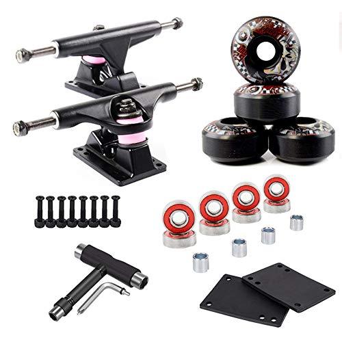 LILI Skateboard Truck - Skateboard Standard Trucks 2 Stück Skateboard Truck Mit Skate Wheel Riser Pad Lagerzubehör,Black