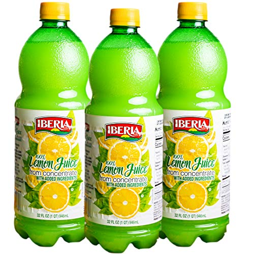 Iberia 100% Real Lemon Juice, 32 Ounce (Pack of 3)