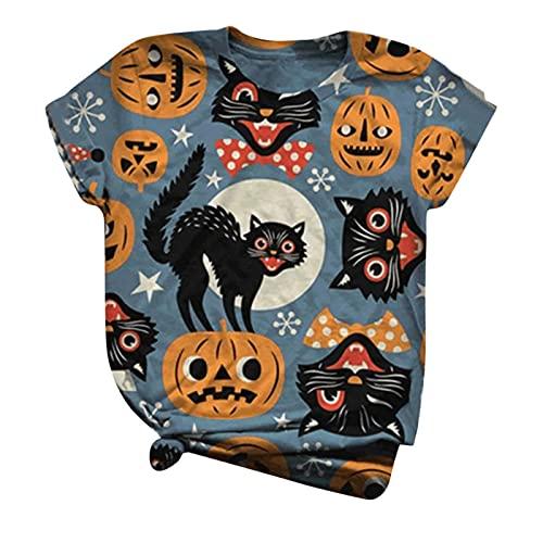 Camisetas de Halloween para mujer, diseño de gato negro, estampado de calabaza, manga corta, cuello redondo, suelto, casual, camisetas suaves, azul, XXXXL