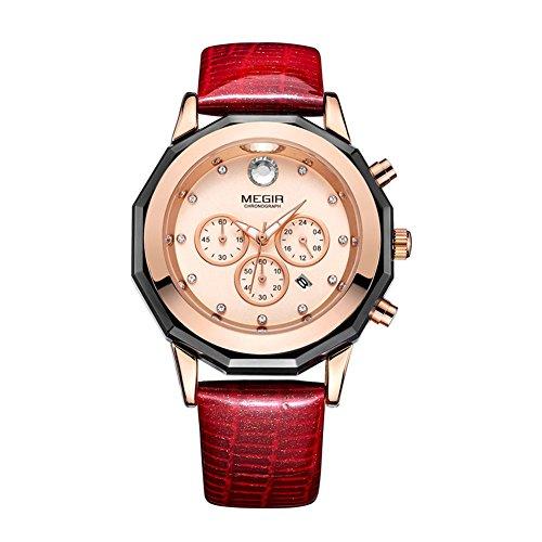 Megir Moda Mujeres diseño único Brillantes Dial Relojes Correa de Piel Resistente al Agua Reloj de Pulsera para Mujer