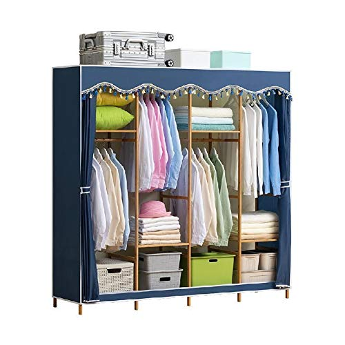 Great Deal! WSZJJ Large Space Simple Wardrobe Steel Pipe Thickened Fabric Solid Double Bedroom Assem...