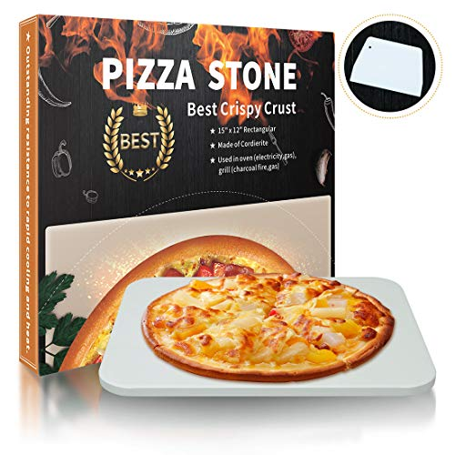 Homcosan Pizza Stone for Oven Grill, Baking Stone, Cooking Stone, Pizza Pan Perfect for BBQ Bread, Safe Cordierite and Thermal Shock Resistant(Elegance, 15''x12'' Rectangular)