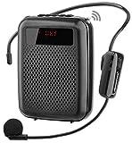 JCWY Amplificatore Vocale Senza Fili UHF, Sistema PA Ricaricabile Portatile 12W (1500mAh) con Microfono Cuffia Wireless per Insegnanti, Guida Turistica e altro ancora