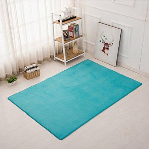 WLH- Tapijt Slaapkamer Nachtlampjes Living Room Bed Rechthoekige Startpagina Cute effen kleur kinderen kruipen mat (Color : Blue, Size : 80x120cm)