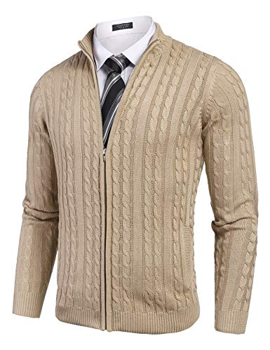 COOFANDY Men's Full Zip Cardigan Sweater Slim Fit Cotton Cable Knitted Zip Up Sweater with Pockets Khaki