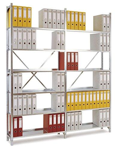 MANUFLEX Archivregal Budget, Grundregal mit 6 Stahlblechböden, HxBxT = 2250x960x300 mm