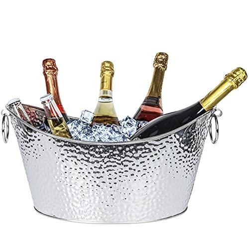 12 L Secchiello Ghiaccio Grande,Porta Ghiaccio per Bottiglie, Secchiello Ghiaccio Champagne per il ghiaccio,Secchio per Birra in Acciaio Inossidabile per famiglie, feste, barbecue, bar
