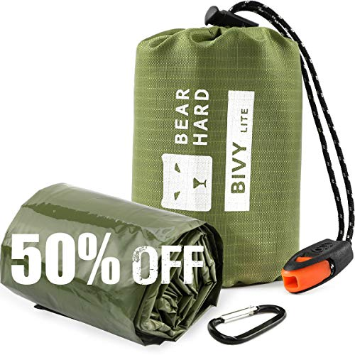 Bearhard Emergency Sleeping Bag Emergency Blanket Bivy Sack Ultralight Waterproof Thermal Survival Bivvy Bag with Heat Retention for Camping, Hiking, Backpacking