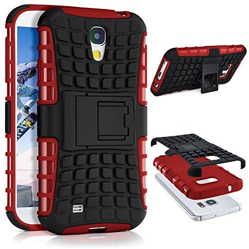 ONEFLOW® Tank Case kompatibel mit Samsung Galaxy S4 Outdoor Hülle | Panzer Handyhülle mit Ständer - 360 Grad Handy Schutz aus Silikon & Kunststoff, Rot