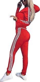 Women 2 Pieces Tracksuit Strip Hooded Zip up Sweatshirt Ladies Zipper Playsuits Sportswear Hoodies + Pants Trousers