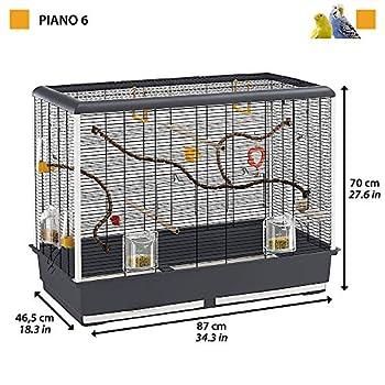 Ferplast Grande Cage pour Canaris et Petits Oiseaux Exotiques Piano 6, Livrée avec Accessoires,Métal Robuste Vernis Noir et Bac en Plastique Brun, 87 X 46,5 X H 70 cm