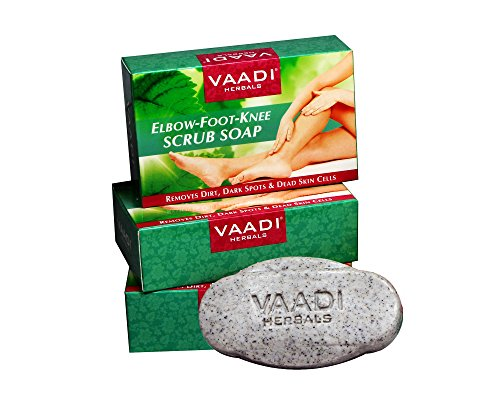 Vaadi Herbals Value Pack of 3 Elbow-Foot-Knee Scrub Soap Bar with Almond & Walnut Scrub (75 gms x 3)