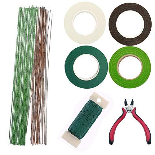 Woohome 8 Stück Blumen-Arrangement Tool Kit Flora Kreppband, 26 Gauge Blumenstamm Draht, Floral Wire und Hochzeit Bouquet Drahtschneider
