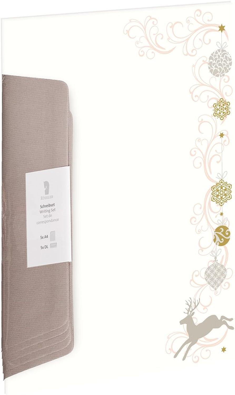 Rössler Papier - - W-Design-Pack 5 5 5 5 A4 DL Hirsch m. Christbaumschm. BU taupe - Liefermenge  5 Stück B07CX3DLCR    Economy  09e9b2