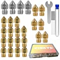 25pcs 3D Printer Nozzle, Brass+Stainless Steel MK8 Nozzles for Extruder Print Head Compatible with Makerbot Creality CR-10 All Metal Hotend, Ender 3 / Ender 3 V2 / Ender 3 pro, Ender 5/5 pro/Prusa