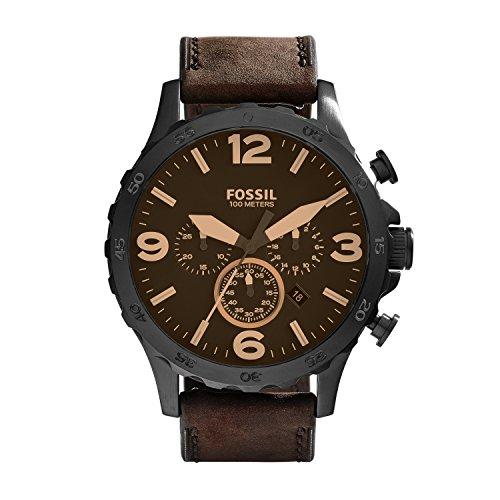 Fossil Herren Chronograph Quarz Uhr mit Leder Armband JR1487