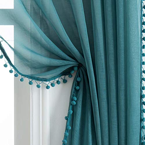 Selectex Linen Look Pom Pom Tasseled Sheer Curtains - Rod Pocket Voile Semi-Sheer Curtains for Living and Bedroom, Set of 2 Curtain Panels (52 x 63 inch, Teal)