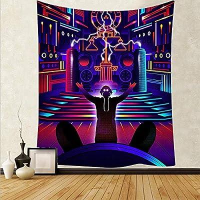 Material duradero y liviano: el tapiz de pared está hecho de poliéster de alta calidad, alta resistencia, elasticidad y resistencia a la abrasión, suave, cómodo para la mano, liviano y fácil de colgar. Fácil de cuidar: este tapiz artístico se puede l...