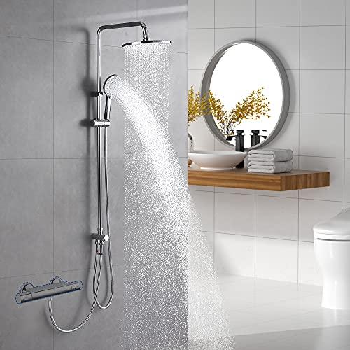 Lonheo 3-Funktionen Duschsystem ohne Armatur, Chrom Dusche Duschset Regendusche mit Umstellung, Kopfbrause(Ø 250mm), Handbrause mit 3-Strahlarten, variable Montageabstand