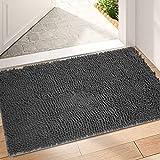 Indoor Durable Chenille Doormat, 20x32 Dog Doormat Entryway Rug Ultra Absorbent Mud Trapper Door Mat, Machine Washable Front Doormat Non Slip Rubber Backing Doormat Outdoor Entrance Door Rug Dark Grey