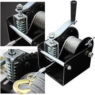 XtremepowerUS Heavy Duty Worm Gear Hand Winch Crank Strap Gear Ratchet ATV Boat Trailer Marine (2000lbs) 1-Ton Capacity 40:1