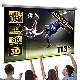Jago® Écran de Projection 203x203cm - 113 Pouces, Enroulable, Formats 1:1, 4:3, 16:9, HD 4K 3D - Toile de Projecteur, Home Cinema, Vidéoprojecteur