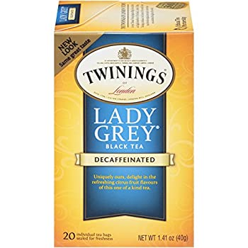 Twinings of London Decaffeinated Lady Grey Black Tea Bags 20 Count  Pack of 6