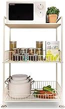 Microondas digitales horno Organizador de almacenamiento en rack de cocina de microondas horno de carro máquina de pan verduras bastidor de suelo de almacenamiento, de 3 plantas, 2 de los colores de l