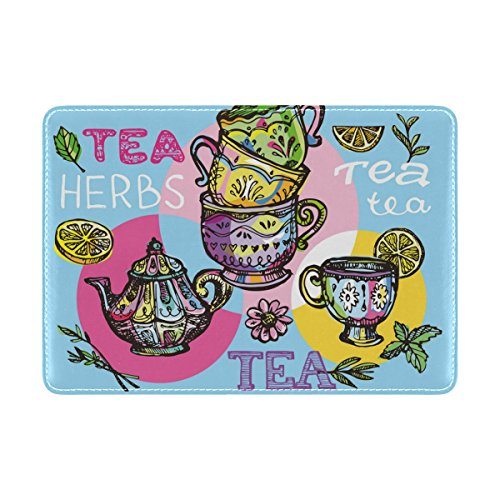 My Daily Colorful Teapot Cup Time Leather Passport Holder Cover Case Protector
