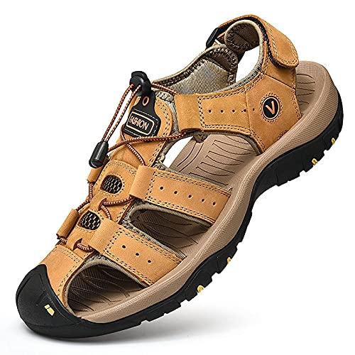 QYMXJ Sandálias Masculinas de Couro Sandálias esportivas abertas para caminhada ao ar Livre Sapatos de Praia à Prova d'água de verão com suporte de Arco Preto, dourado, Azul, Verde, marrom