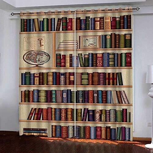 zpangg verdunkelungsvorhang kräuselband Magischer Bücherregal-Globus mit Ösen Gardine für Schlafzimmer, Kinderzimmer 2 Stück Verdunkelungsvorhänge farbige Vorhänge