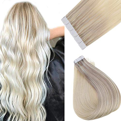 Full Shine Tape Extension Capelli Remy Human Hair Blonde Great Lengths 18pollici 40g Colore 18/22/60 Ash Blonde mix con Blonde Seamless Tape ins Extensions Ombre Real Hair Extensions