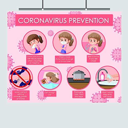 Zap Education Coronavirus Prevention - 8 x 10 – Laminated – Wash Your Hands - Germs Print – Cold Flu – Funny Art – Kids – Bathroom Decor – Wall Print – Hygiene Facts – Health Class - Corona Virus