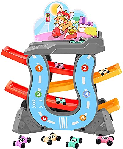 KINGBOT Toddler Toys Car Ramp Race Tracks Playsets with 6 Mini Cars, Gliding Track Set with Parking Lot for Boys Girls Toy Gift for 4 5 6 7 8 Years Old Kids